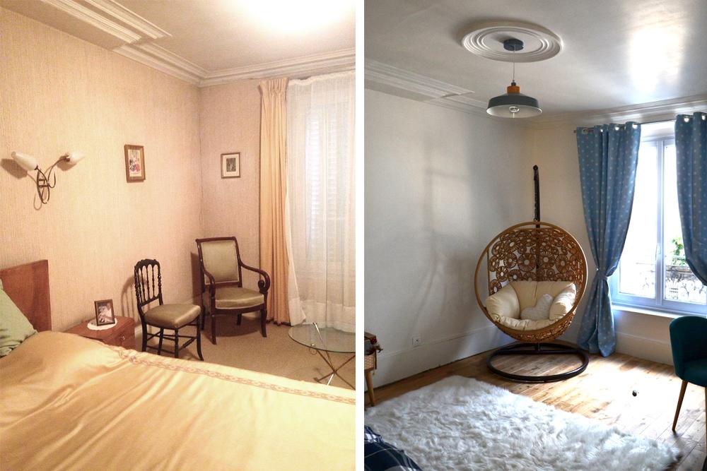 Avant / Après - Transformation de la chambre : résultat final