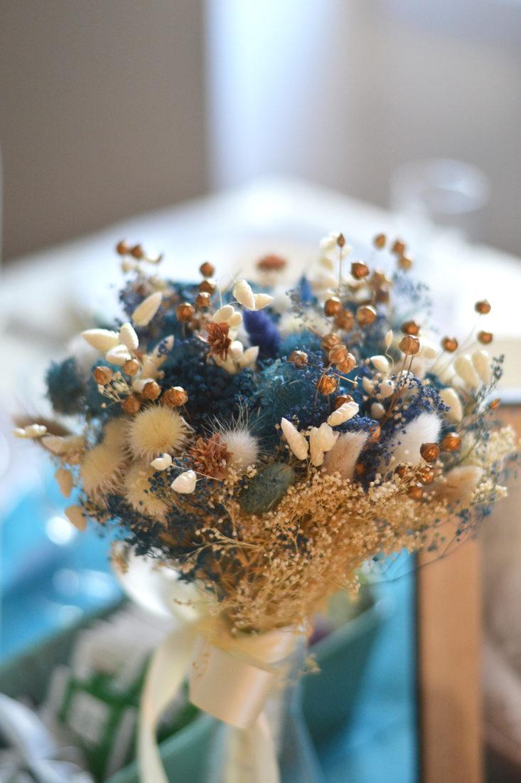 Baby shower garçon - bouquet de fleurs séchés